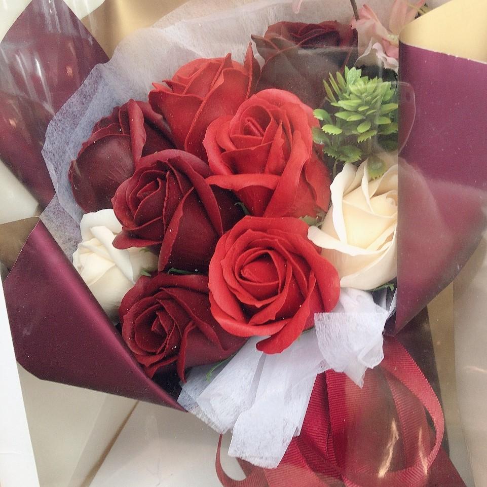 ソープフラワー花束 赤