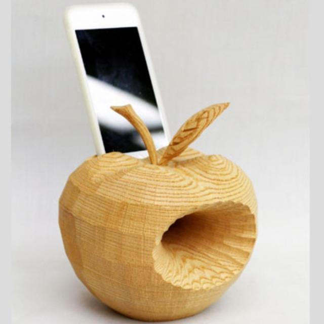 井波彫刻スマートフォンスピーカー きぼりんご