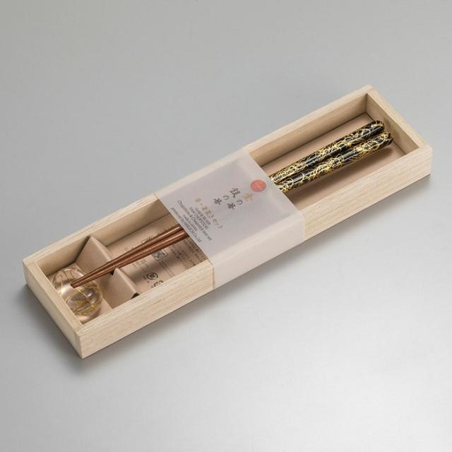 箸・箸置きセット 金糸(L)