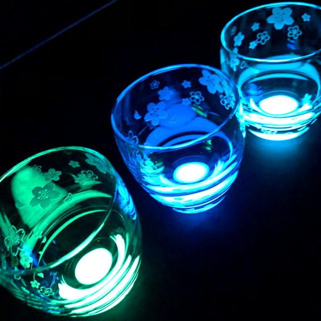 名入れができる!光☆蓄光グラス 月光グラス作 『白夜新桜木箱入り』