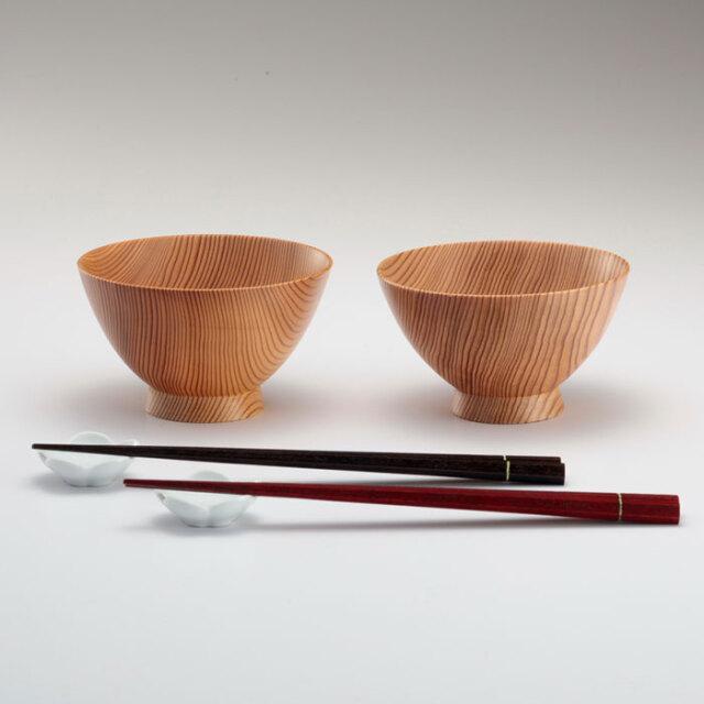 吉野杉の夫婦茶碗セット