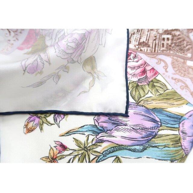 横浜三塔(CFT-076) 伝統横濱スカーフ 大判 シルクツイル スカーフ【ホワイト】