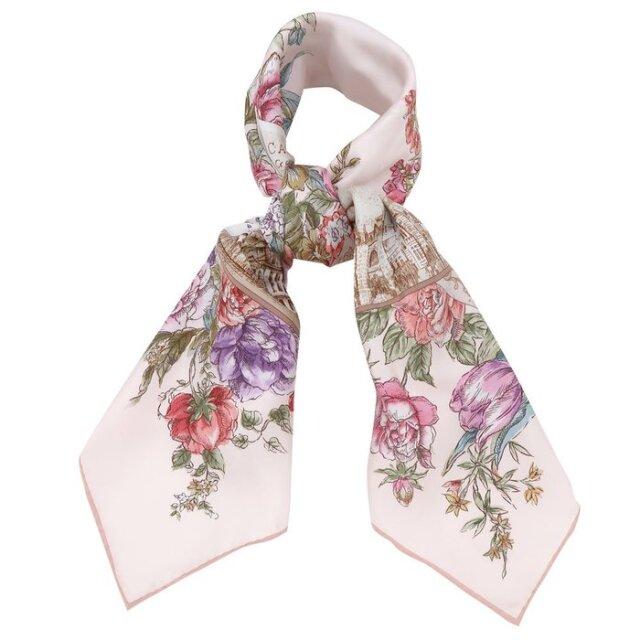横浜三塔(CFT-076) 伝統横濱スカーフ 大判 シルクツイル スカーフ【ピンク】