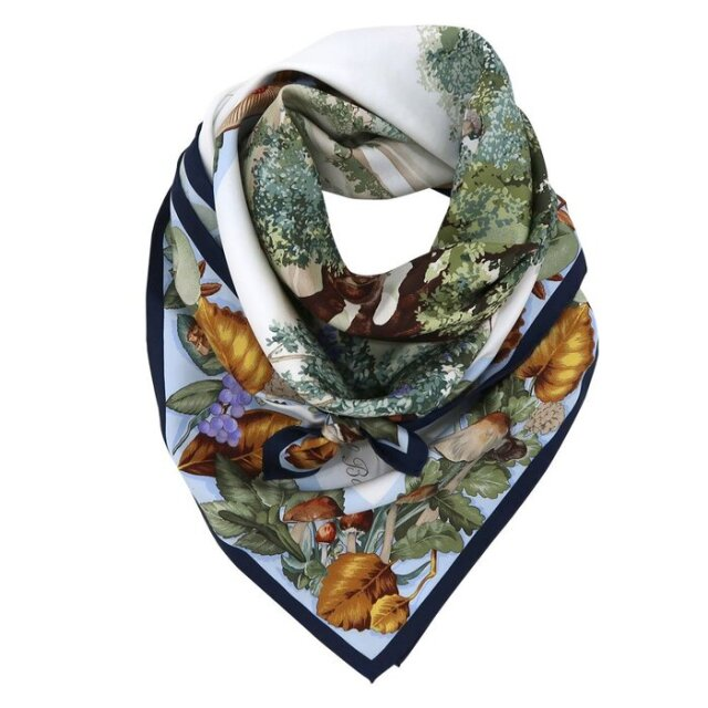 イル・ボスコ/森林 (CA0-249) 伝統横濱スカーフ 大判 シルクツイル スカーフ【マルチ】
