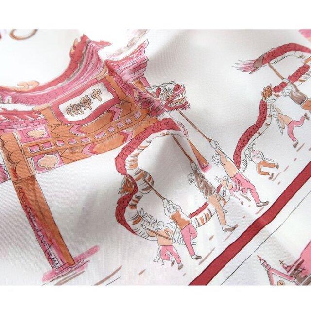 YOKOHAMAスケッチ(CMK-141) 伝統横濱スカーフ 大判 シルクツイル スカーフ【ピンク】