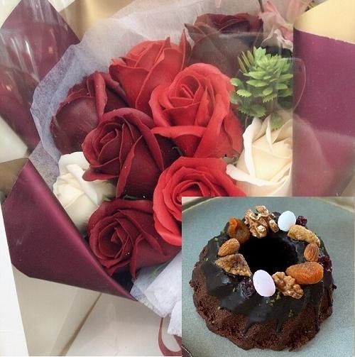 ケーキ&花束