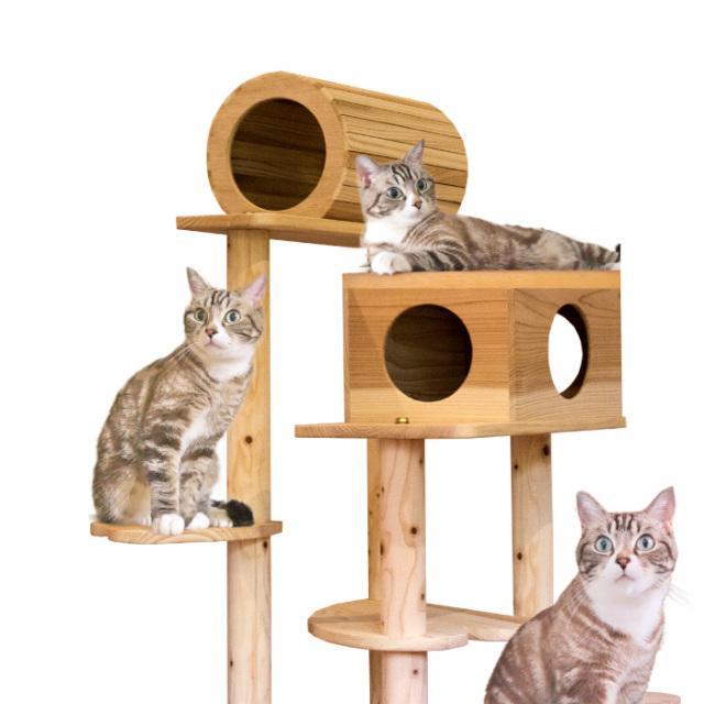 木製キャットタワー 猫まみれツリーハウス (宮大工さん監修のもと製作しております。)