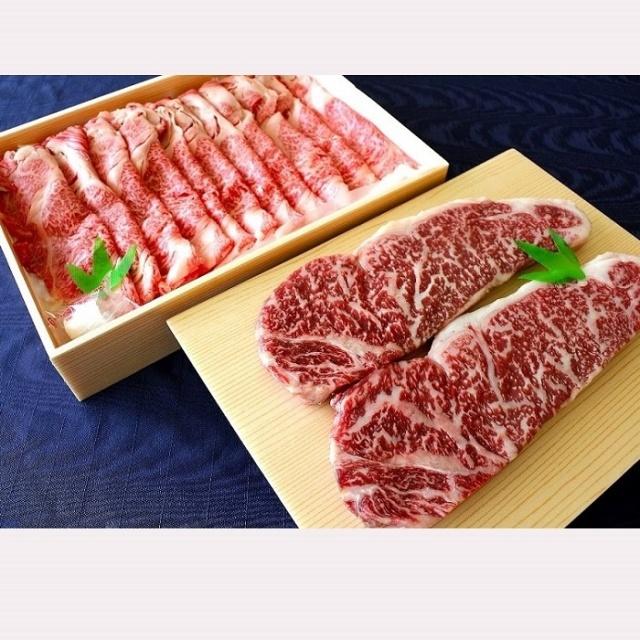 熊野牛ステーキ&すきしゃぶセット