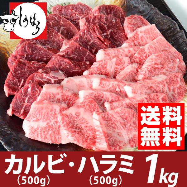 黒毛和牛カルビ500g、上ハラミ500g(1kgセット)