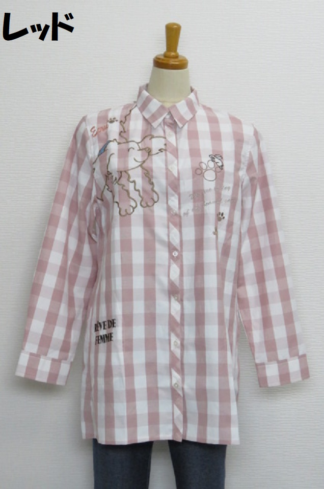 211-2003 Aライン長袖チェックブラウス (綿50%、ポリ50%) サイズ:M・L・XL
