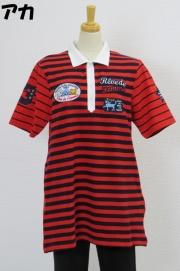 202-1002 Aライン半袖ボーダーポロシャツ (綿95%、ポリウレ5%)