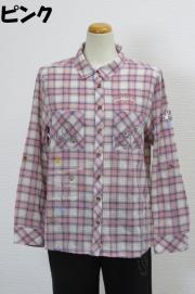 202-2001 綿100% 長袖チェックブラウス サイズ:M・L・XL