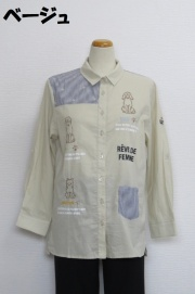 212-2002 綿100% 切り替えブラウス サイズ:M・L・XL