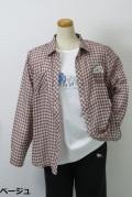 173-2001 綿100% ダブルガーゼ チェックブラウス サイズ:M・L・XL