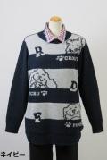 184-3001 長袖 セーター (アクリル55%、ナイロン30%、ウール15%)
