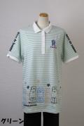 192-1004 Aラインボーダーポロシャツ (綿95%、ポリウレ5%)