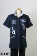 192-1005 Aラインハイネックポロシャツ (綿55%、ポリ45%)