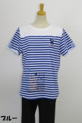 192-1012 ボーダー 半袖Tシャツ (綿95%、ポリウレ5%) サイズ:M・L・XL