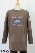 194-1005 お袖切り替え ロング丈トレーナー (綿80%、ポリ15%、ポリウレ5%) サイズ:M・L・XL