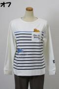 201-1004 ボーダープリント長袖Tシャツ (綿85%、ポリ10%、ポリウレ5%) サイズ:M・L・XL