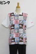 212-1002 総柄プリント半袖ポロシャツ (綿48%、レーヨン48%、ポリウレ4%) サイズ:M・L・XL