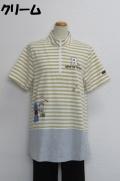 212-1004 ボーダー切り替えAラインTシャツ(綿95%、ポリウレ5%) サイズ:M・L・XL