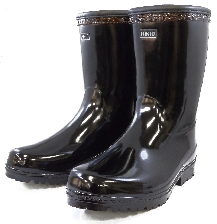 力王 紳士用長靴 短半長 B022 ブラック