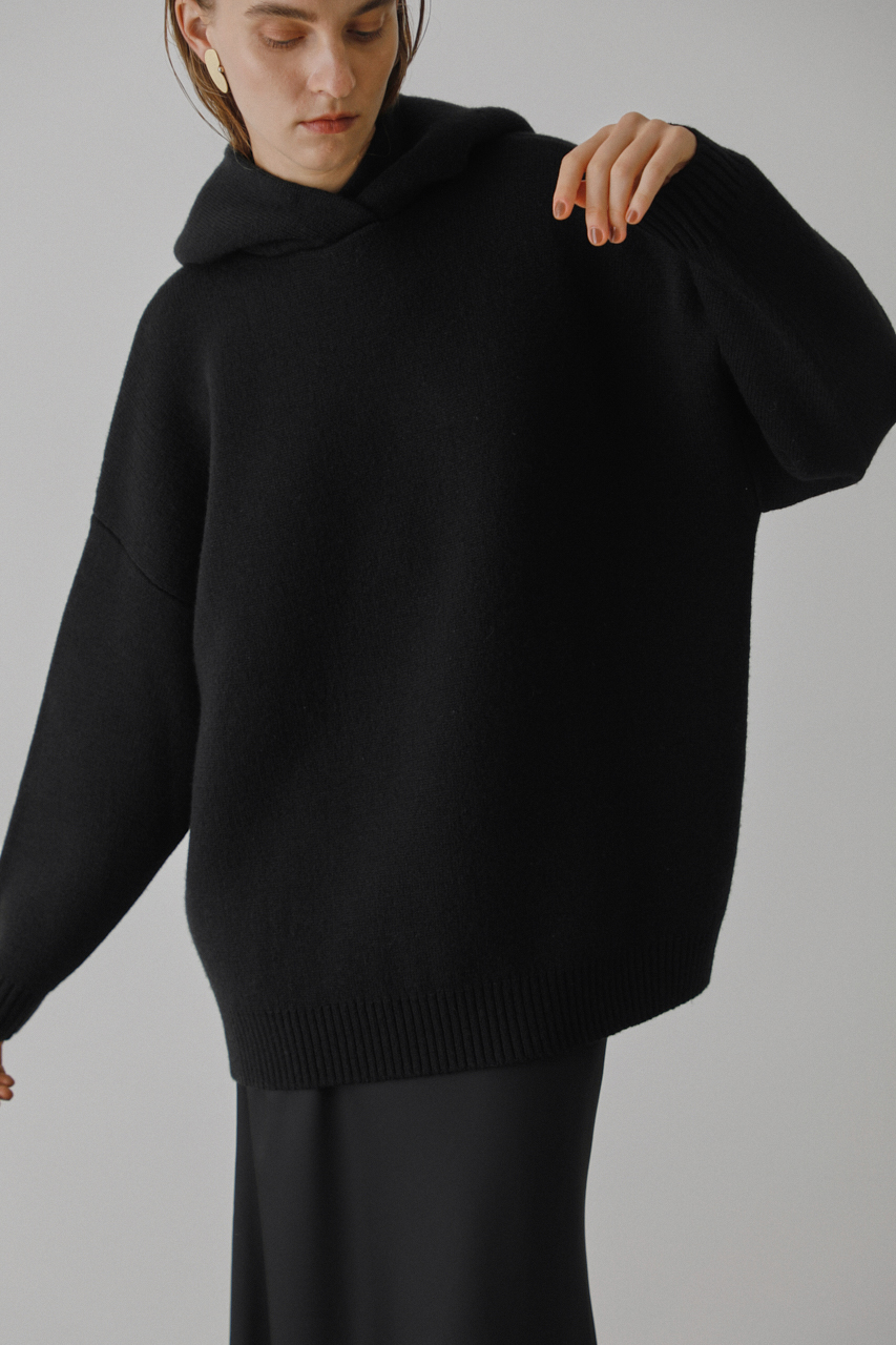 High neck knit hoodie