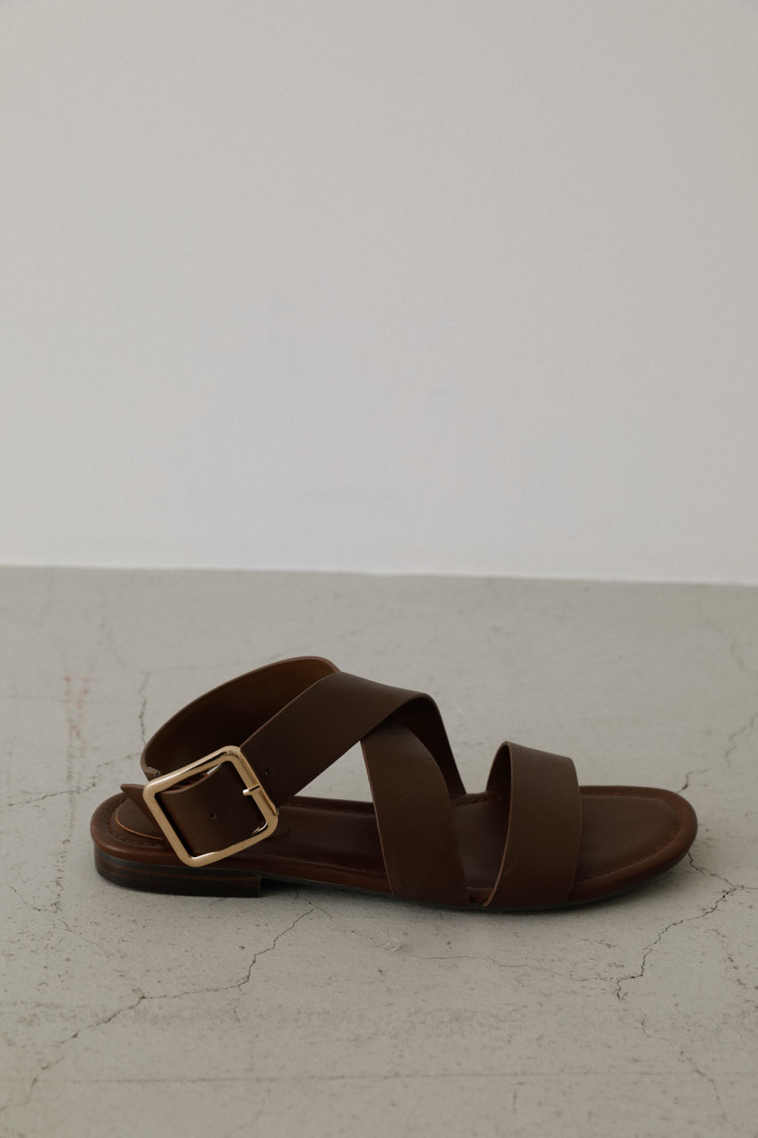 Cross strap leather sandal