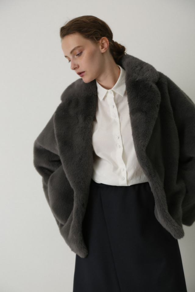 Dolman fake fur coat