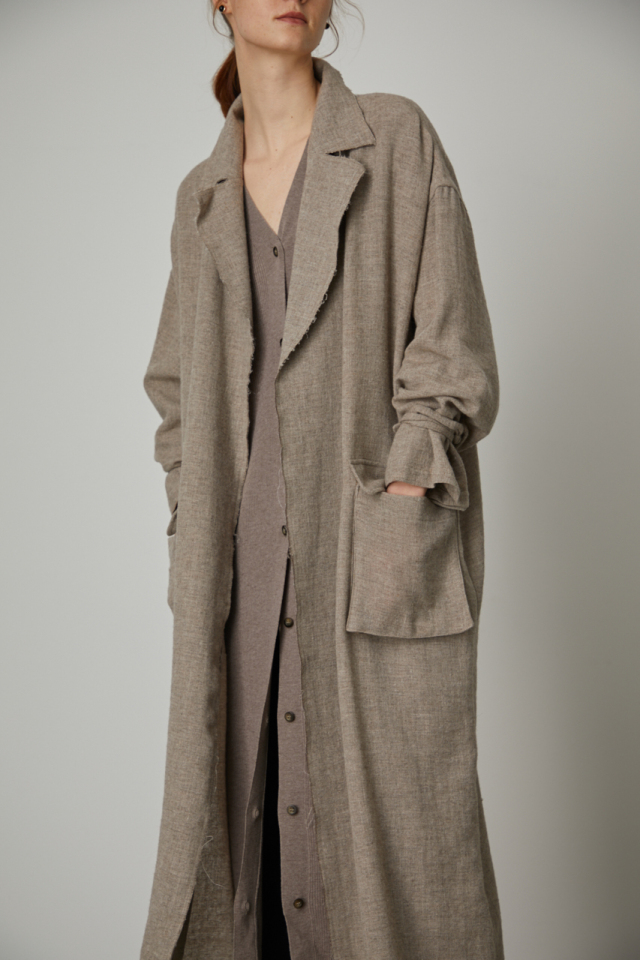 Wool linen maxi trench coat