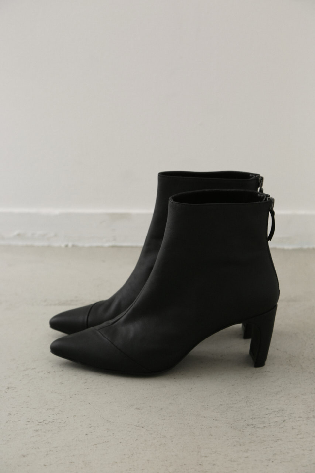 Leather ankle heel boots