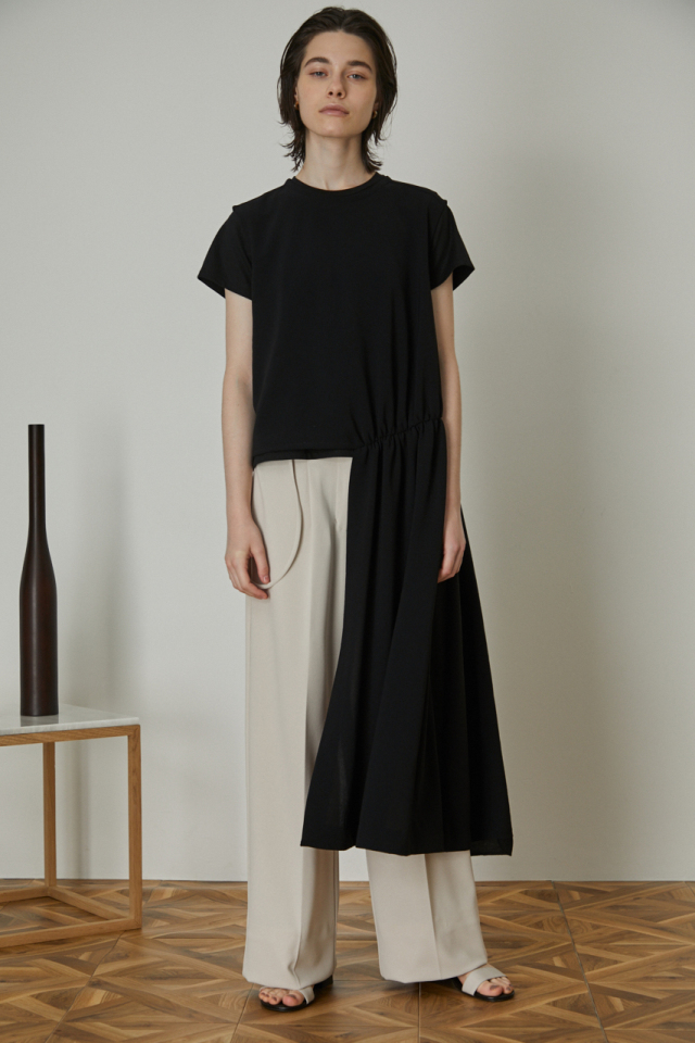 Fine gather asymmetry tops