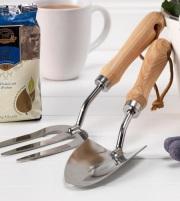 英国直輸入!木製ハンドルのスコップ&フォーク 「リントンズのガーデニングツールset」