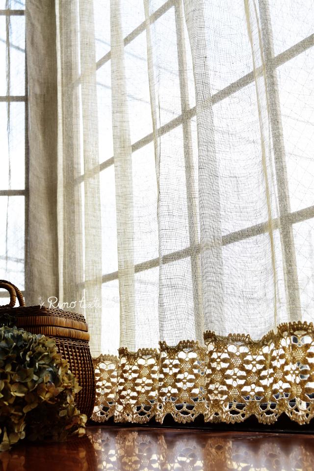 出窓用レースカーテン リノパリスグレー