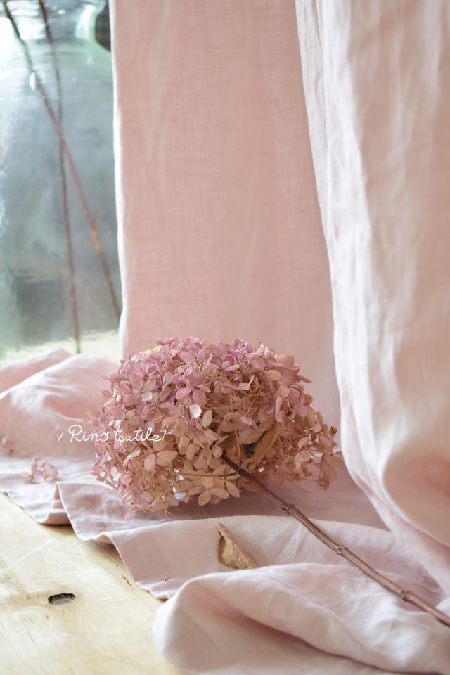 桜色リネンカーテン