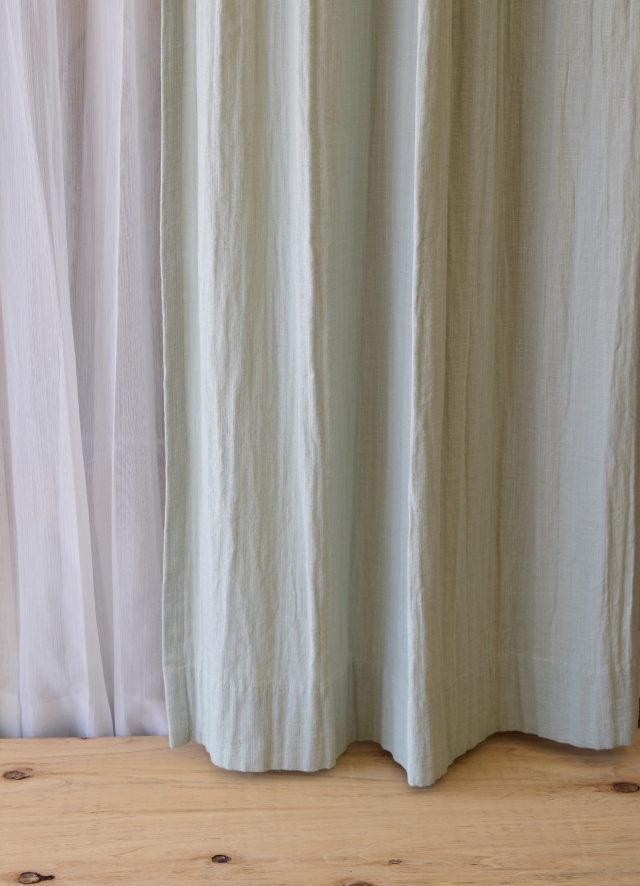 ブルーのカーテン リノコトンオールドブルー