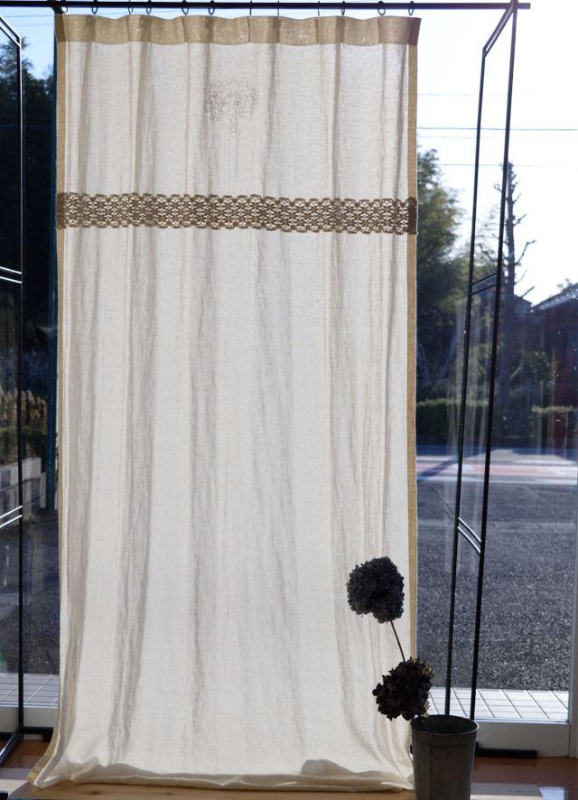 刺繍リネンカーテン