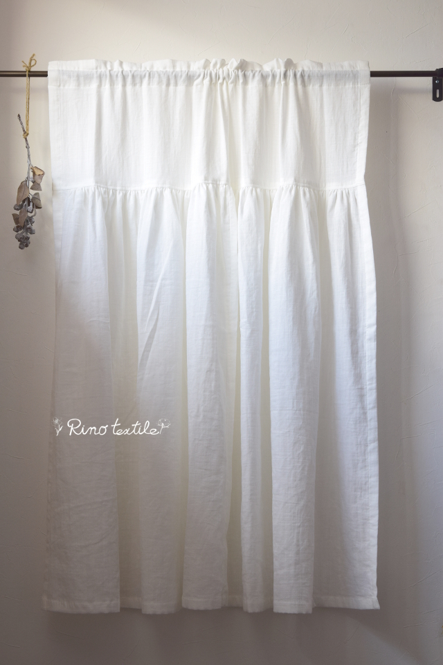 カフェカーテン ドレススタイル【ダブルガーゼ リノコトン ホワイト】コットン100%