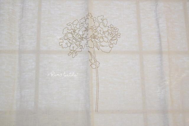 リネンカフェカーテン刺繍デザイン