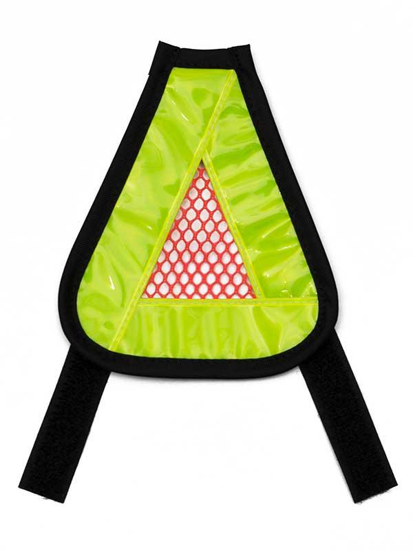 【三角反射板】リフレクター おにぎり ベルクロ装着 バッグ カスク ヘルメット サドルなど 交通安全 No.5089
