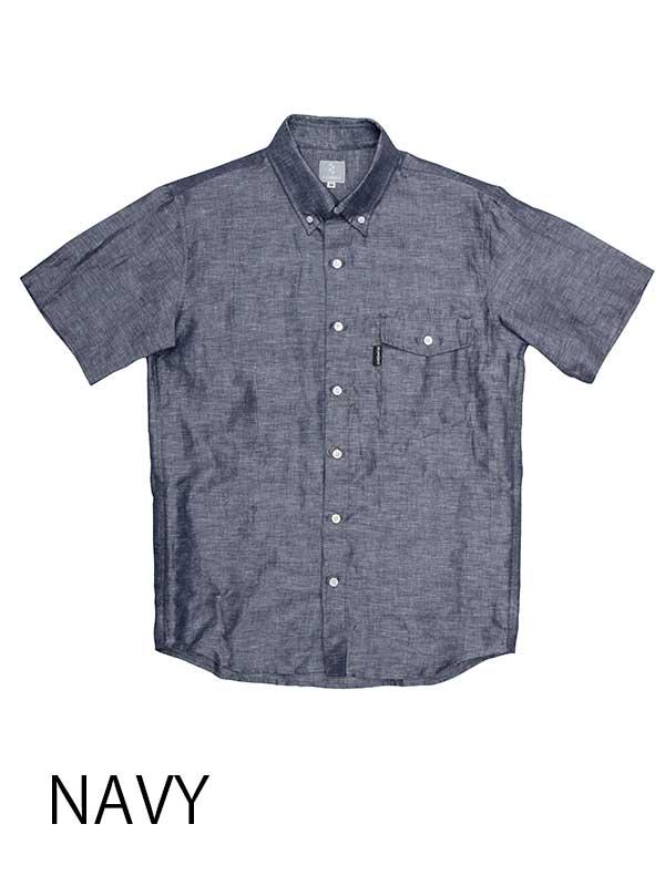 【リネンシャツ】綿麻素材 背ポケット 吸汗速乾 ボタンダウンカラー 半袖 日本製 No.2136【送料無料】