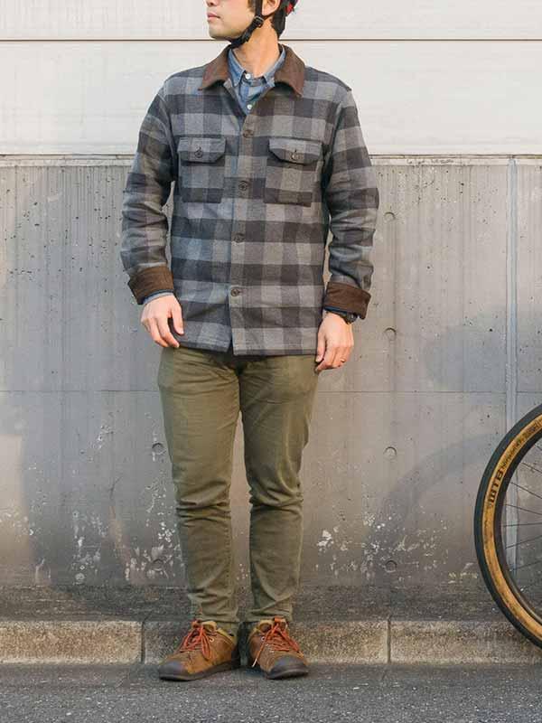 【旅シャツジャケット】ダブルフェイス 起毛 保温 三分割ポケット サイクリング No.2162【送料無料】