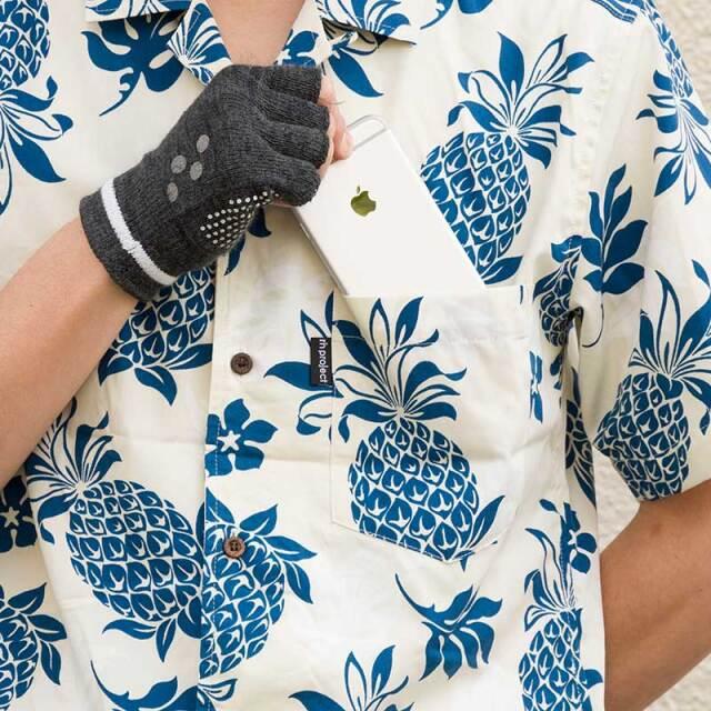 【サイクリストアロハ パイナップル】綿・レーヨン 開襟 アロハシャツ 背ポケット 日本製 No.2182