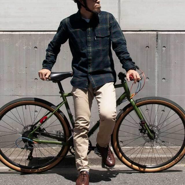 【サイクリストネル】2021版 ネルシャツ タータンチェック 三分割ポケット ツーリング 保温 ミッドレイヤー 自転車 No.2193