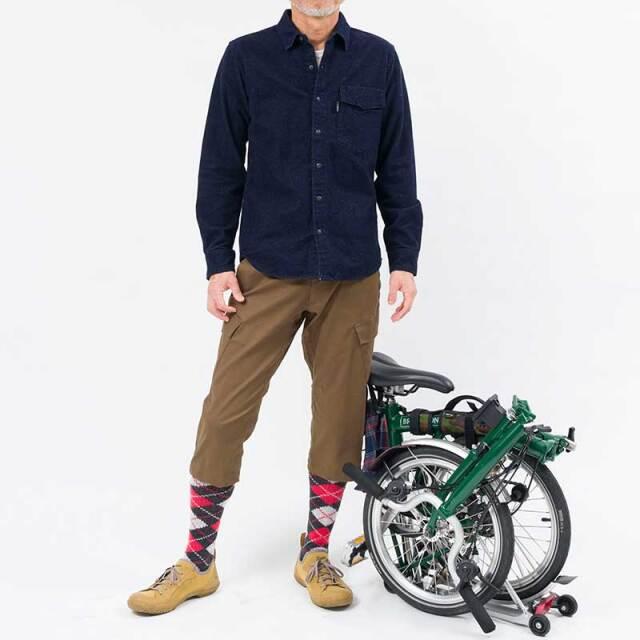 【サイクリストネル プレーン】無地 2021版 ネルシャツ 三分割ポケット ツーリング 保温 ミッドレイヤー 自転車 No.2194