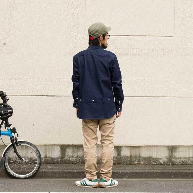 【クラフトデニムシャツ】10oz ストレッチ 大きめスマホ対応 防風 三分割ポケット カジュアル ツーリング ミッドレイヤー No.2198 日本製