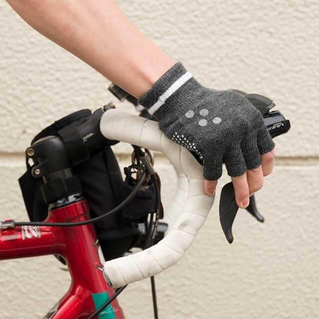 【和紙グローブ】2021年カラー 和紙繊維 x COOLMAX(R) ハーフフィンガー 吸汗速乾 日本製 滑止 No.8040【ネコポス対応】