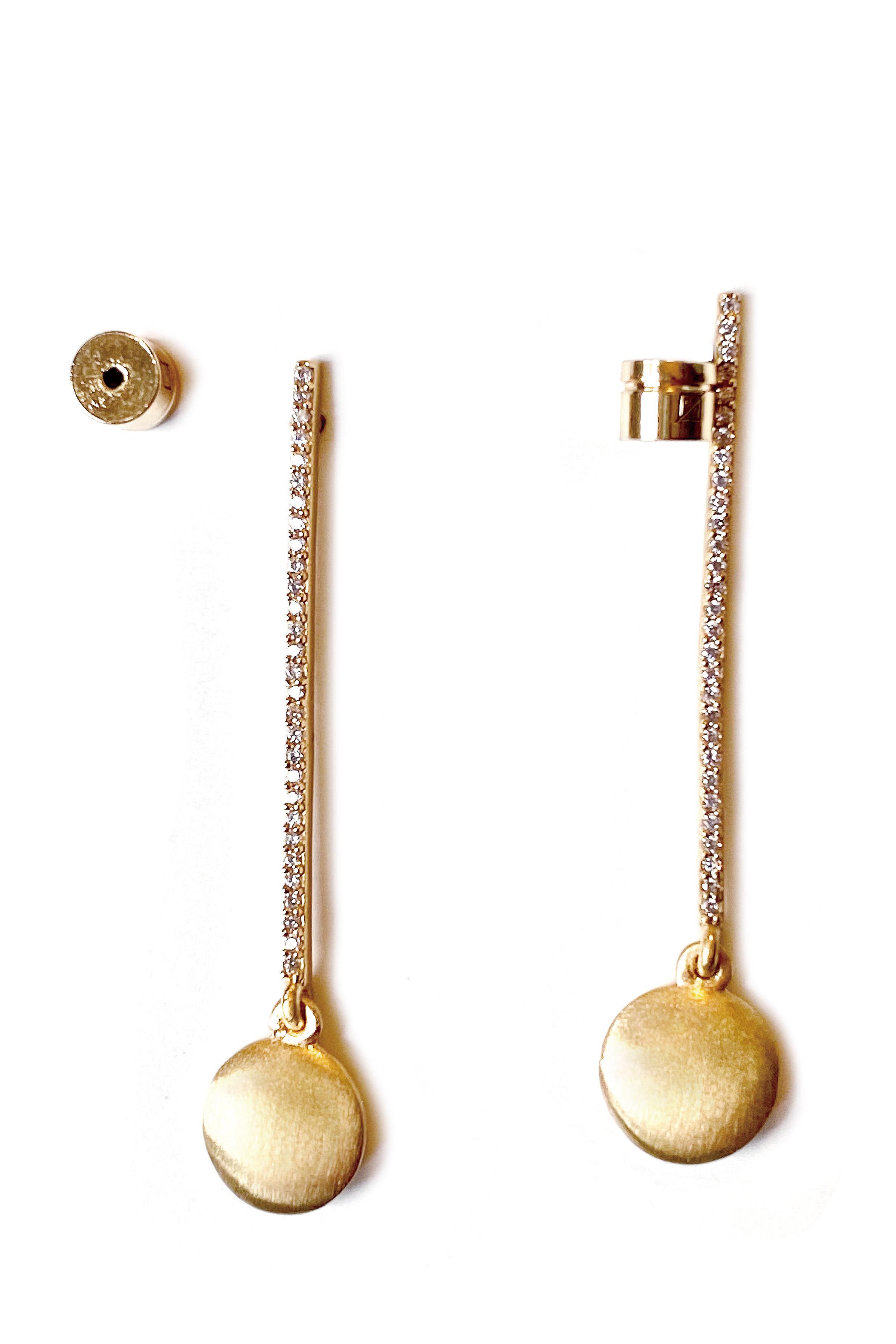 【1年間保証】ゴールドの厚みが違うはげにくいマットなゴールド繊細なCZダイヤをびっしりセットしたピアス 【22KYGフィルド】