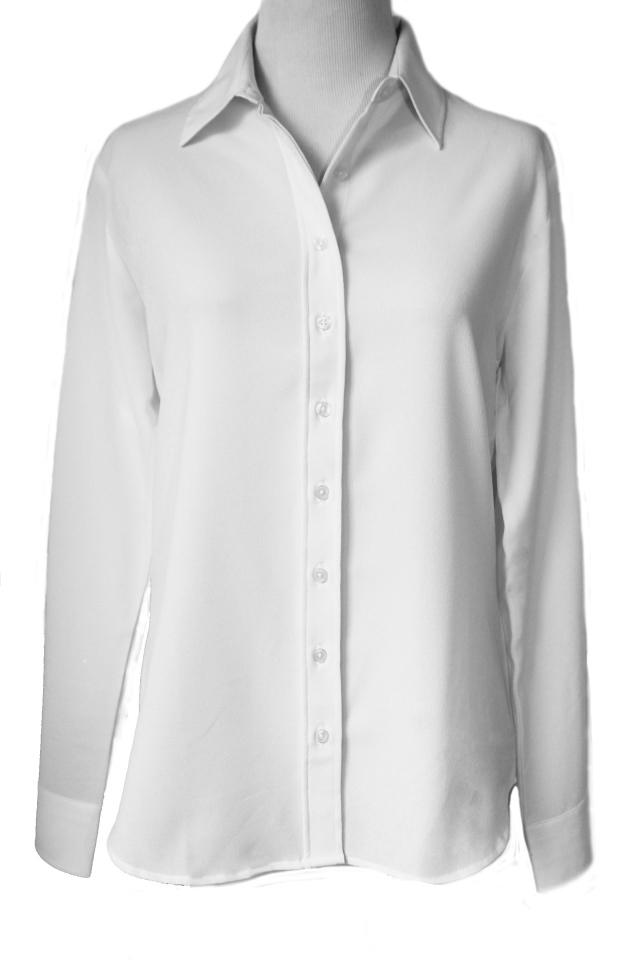 Rish NY Colleciton(アイロン必要なしクレープデシンとろみ長袖胸元が開かない特許クチュール級シャツ)【オフホワイト】